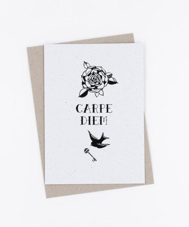 Siebdruck Grußkarte Tattoo · Carpe Diem
