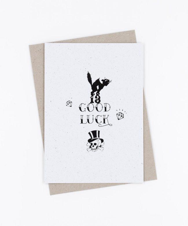 Siebdruck Grußkarte Tattoo · Good Luck