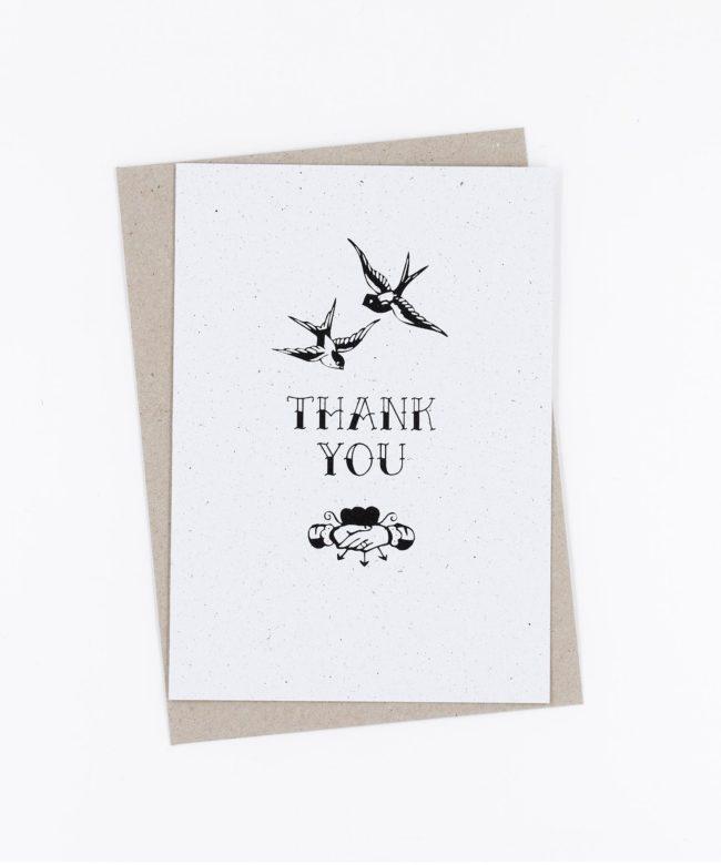 Siebdruck Grußkarte Tattoo · Thank You