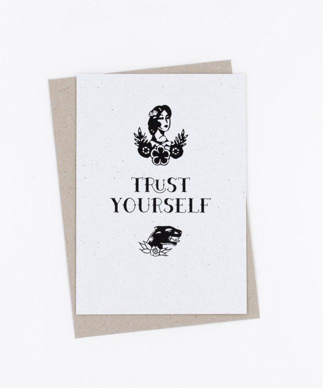 Siebdruck Grußkarte Tattoo · Trust Yourself