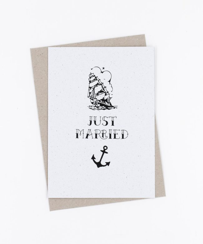 Siebdruck Hochzeitskarte Tattoo · Just Married