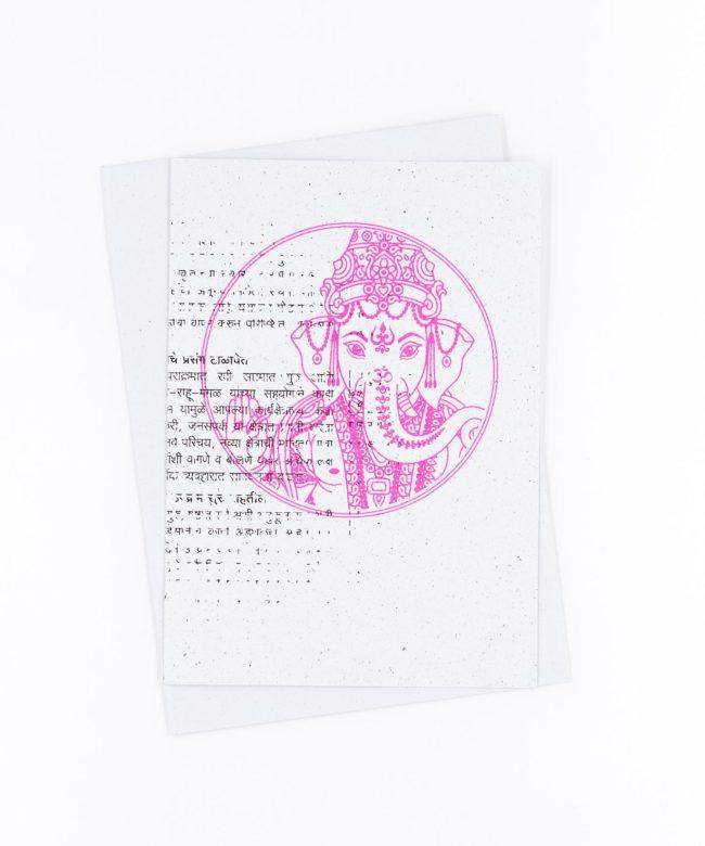 Yoga Grußkarte Ganesha fluo
