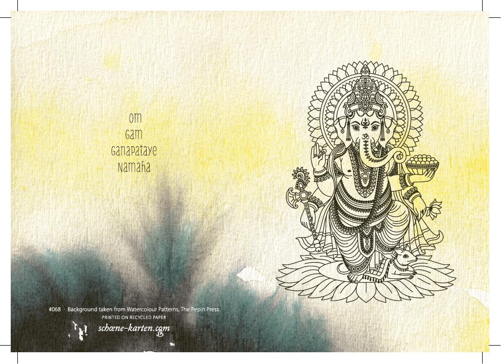 Yoga Grußkarte Ganesha Aquarell