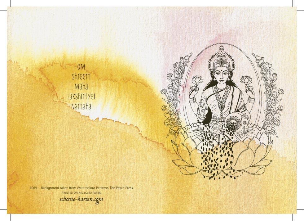 Yoga Grußkarte Lakshmi Aquarell