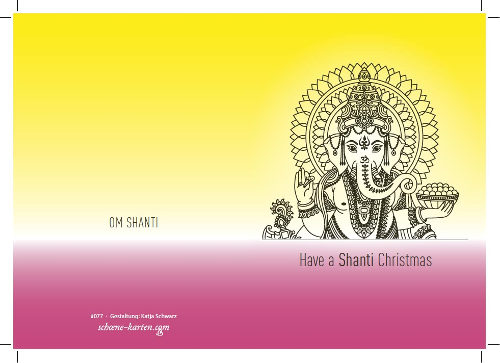 Weihnachtskarte Shanti · Ganesha