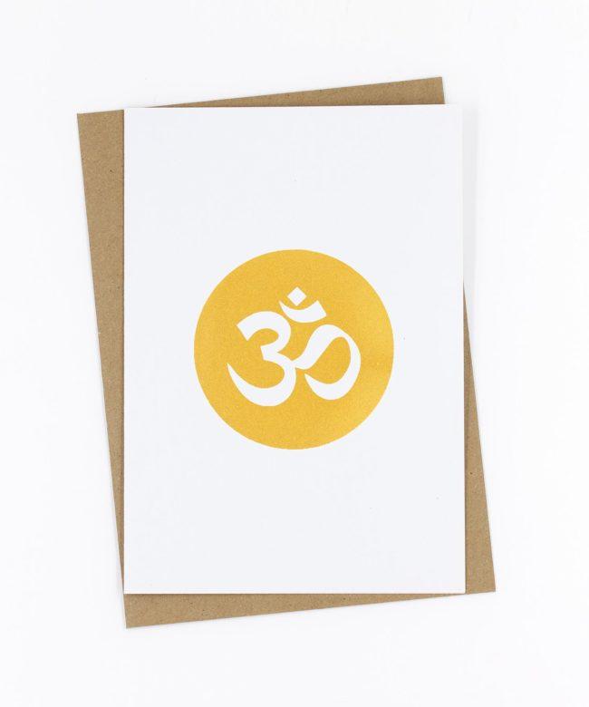 Yoga Grußkarte Golden OM
