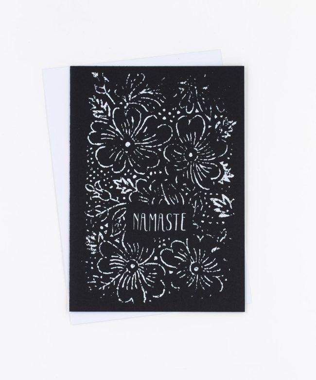 Yoga Grußkarte Namaste · schwarz