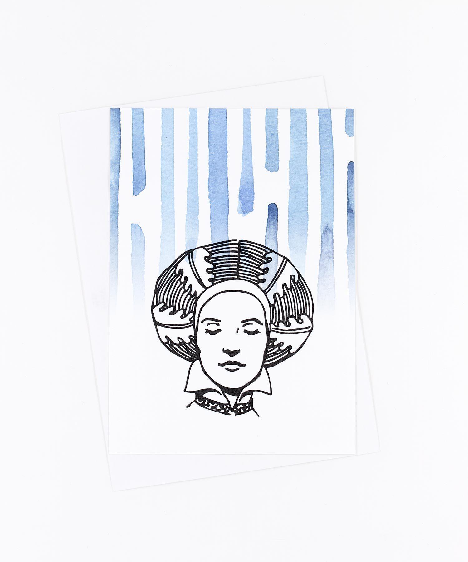 Postkarte Frau mit Turban versunken
