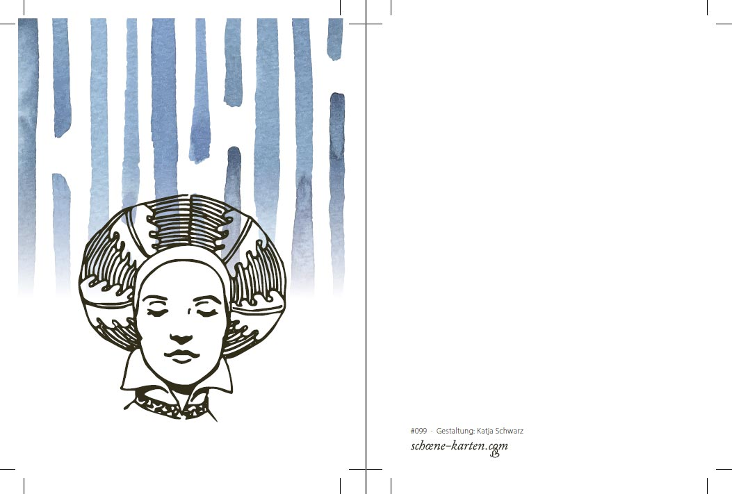 Postkarte Frau mit Turban · versunken