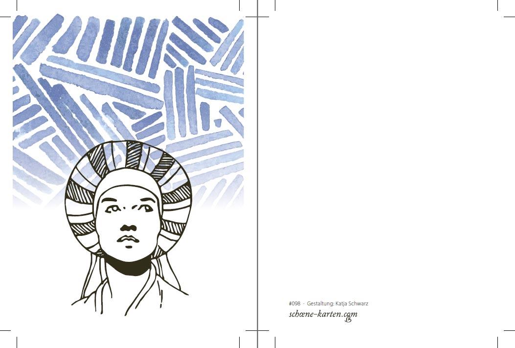 Postkarte Frau mit Turban · verträumt