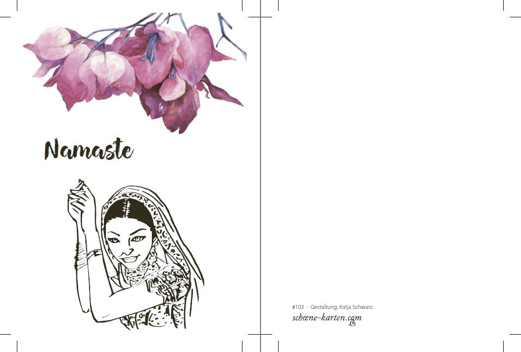 Yoga Postkarte Namaste Hortensia