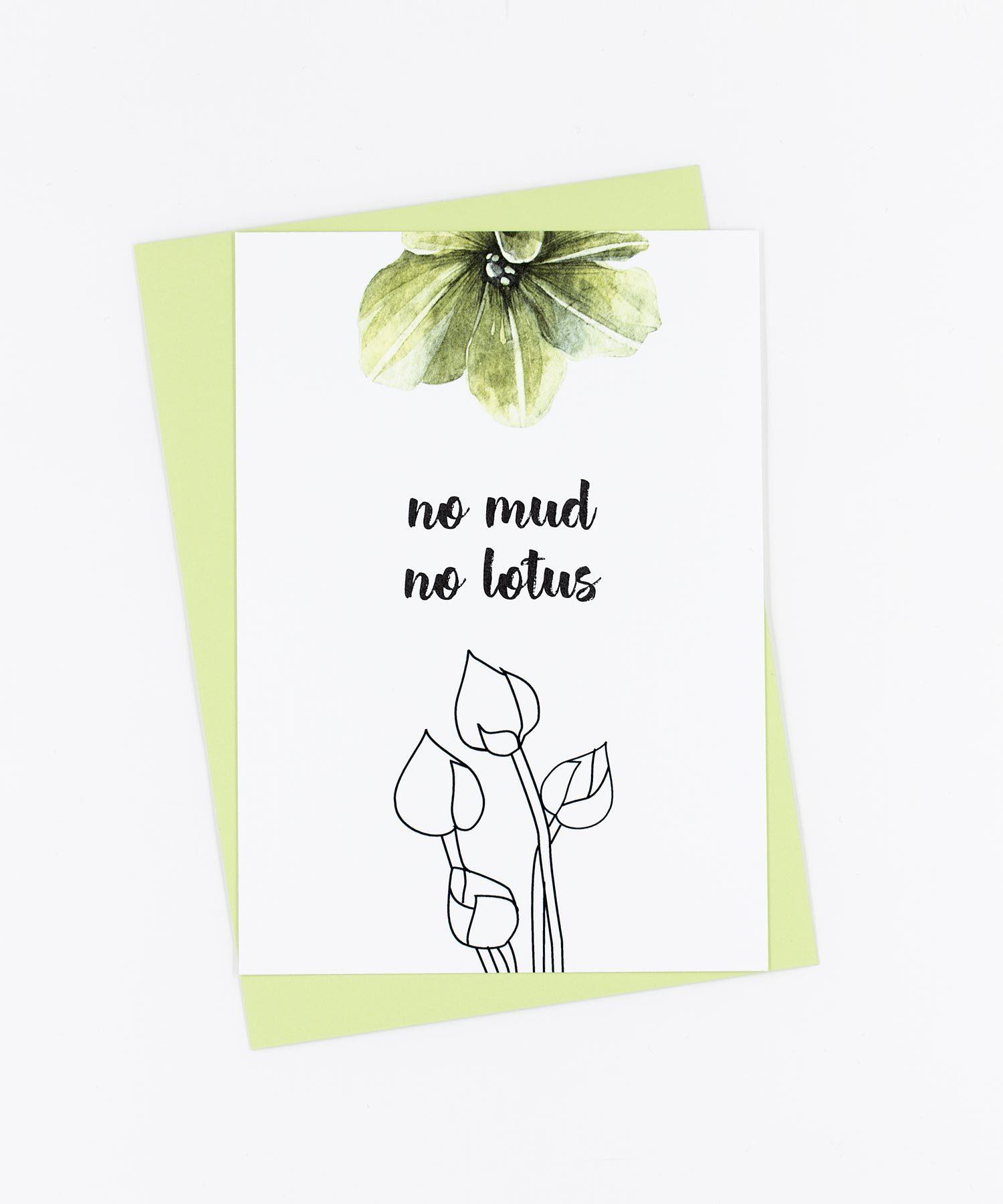 Yoga Postkarte No Mud No Lotos