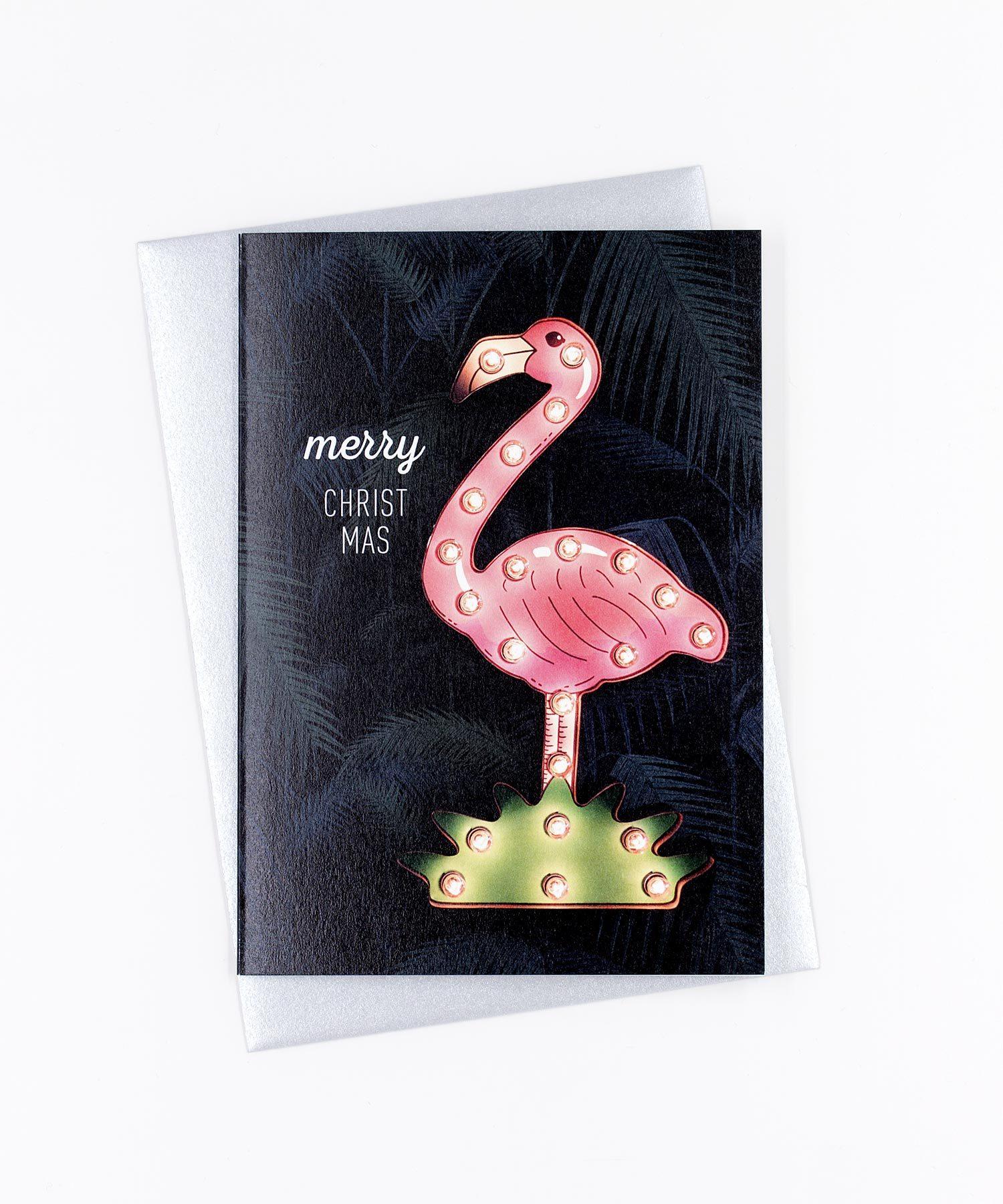 Weihnachtskarte Flamingo