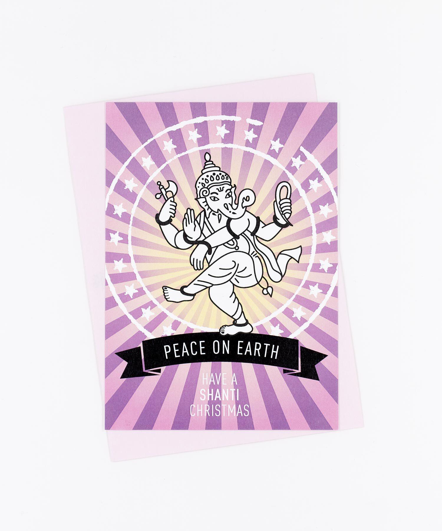 Weihnachtskarte Peace On Earth · rosa