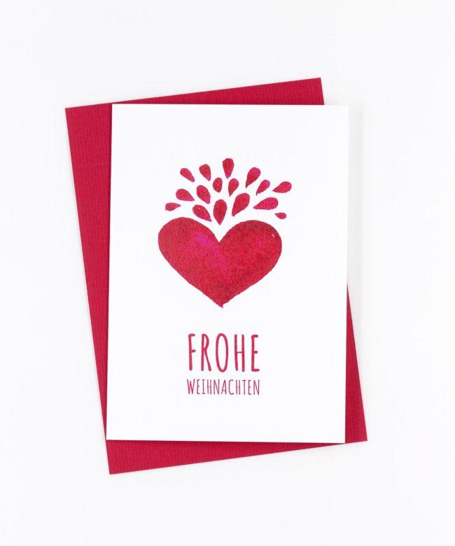 Weihnachtskarte Rotes Herz