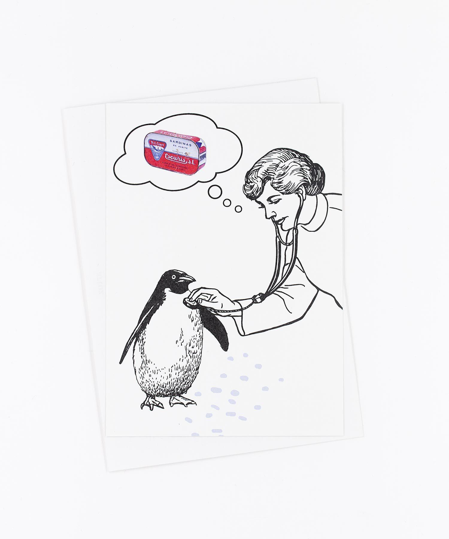 Postkarte Gute Besserung · Pinguin