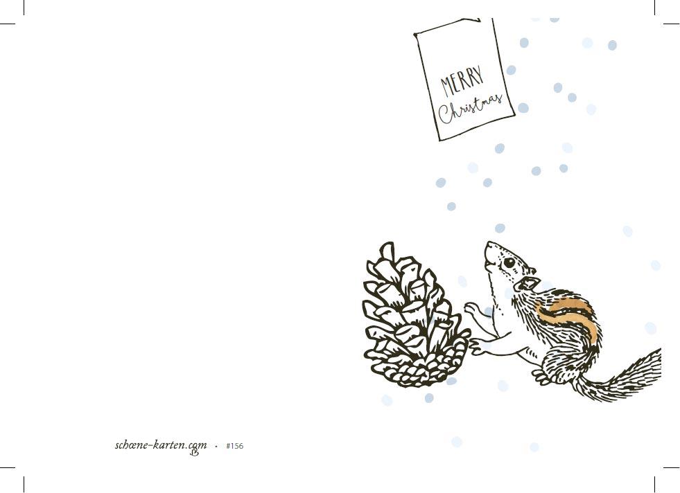 Weihnachtskarte Hörnchen im Schnee