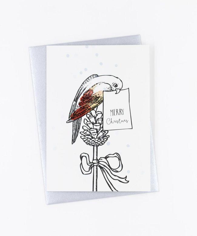 Weihnachtskarte Vogel im Schnee