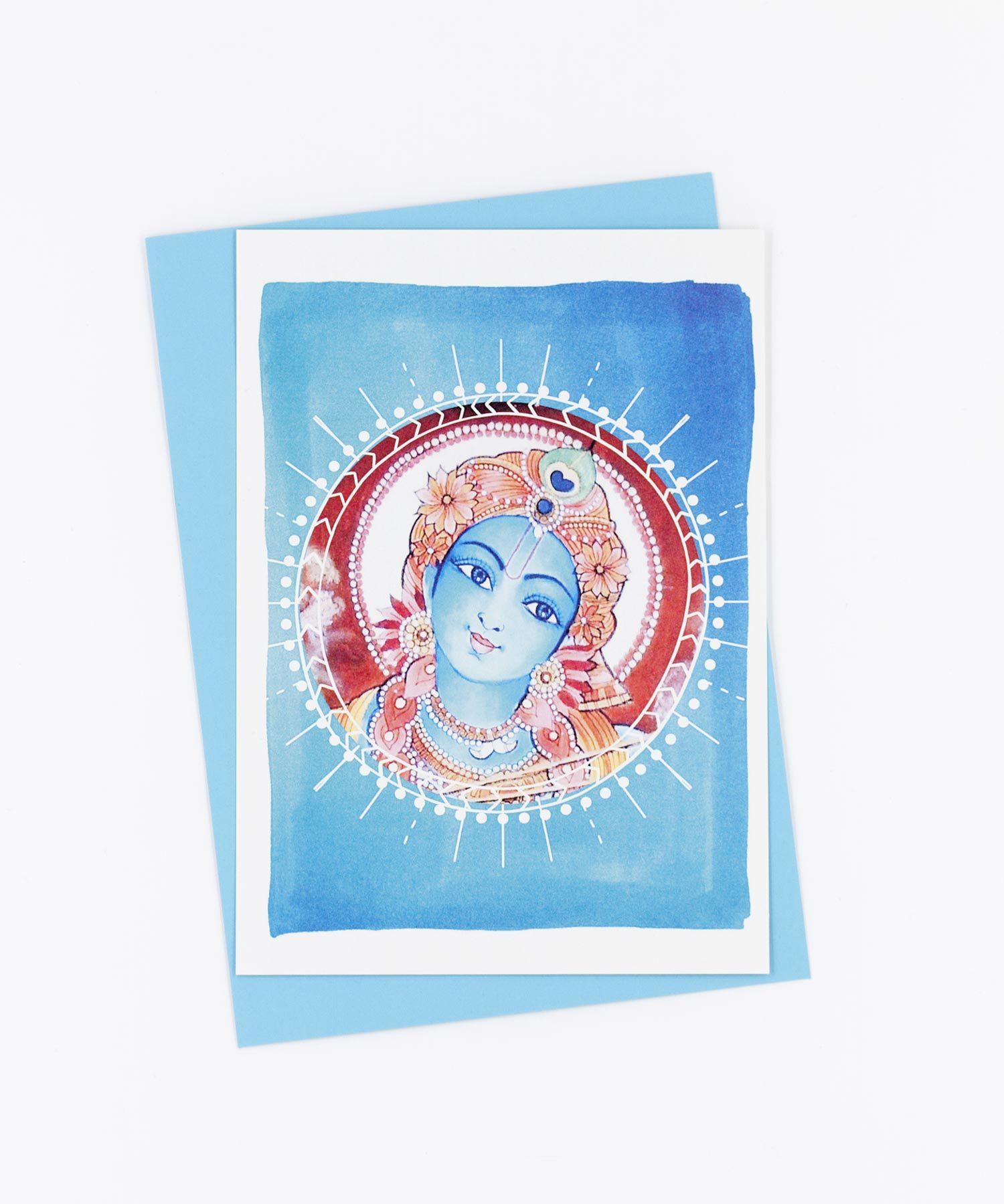 Yoga Postkarte Krishna