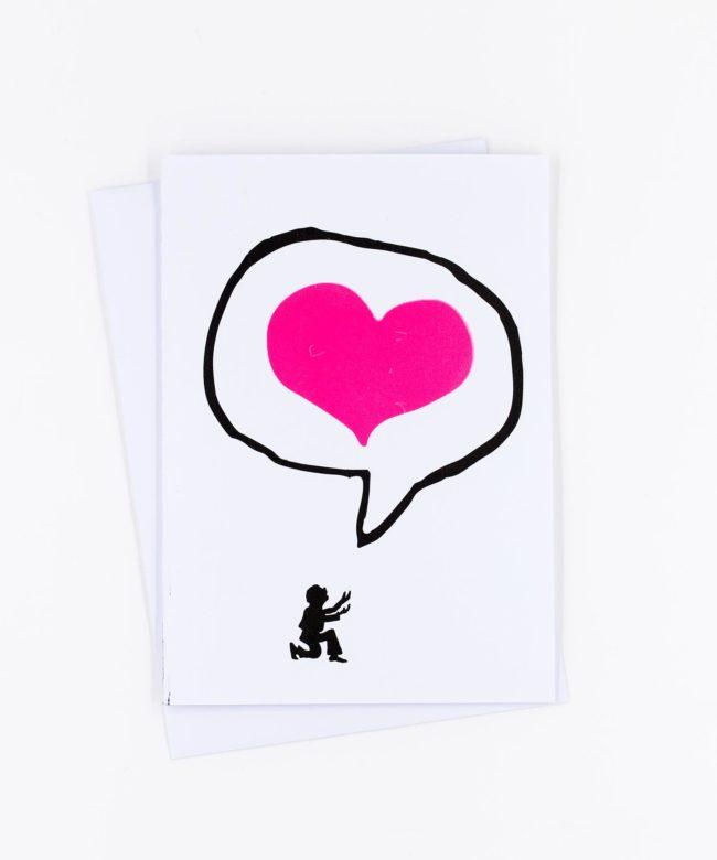 Siebdruck Grußkarte Ich liebe Dich