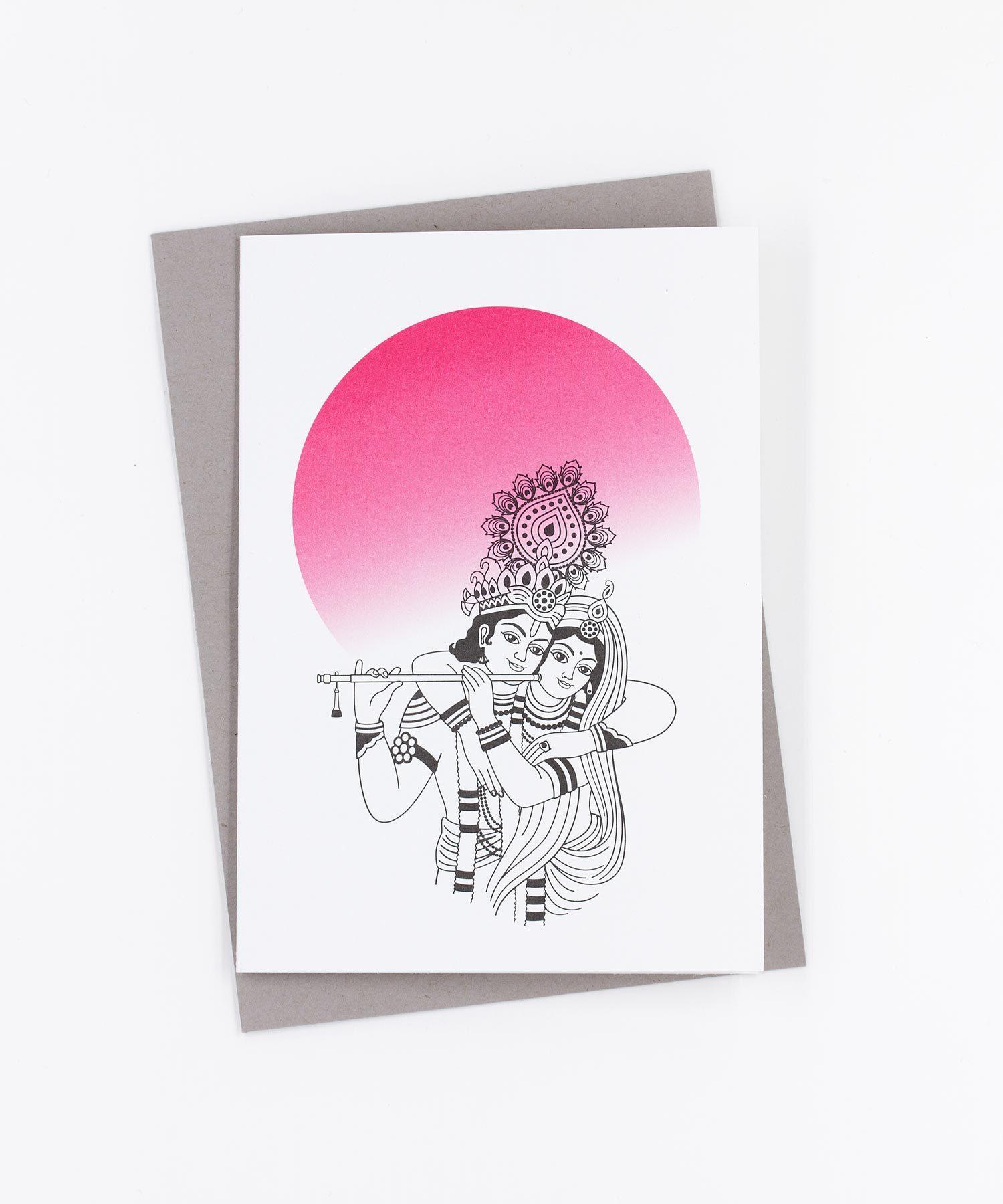 Yoga Grußkarte Krishna und Radha