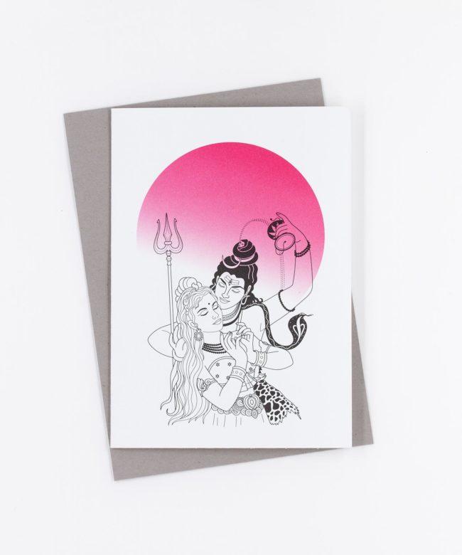 Yoga Grußkarte Shiva und Parvati