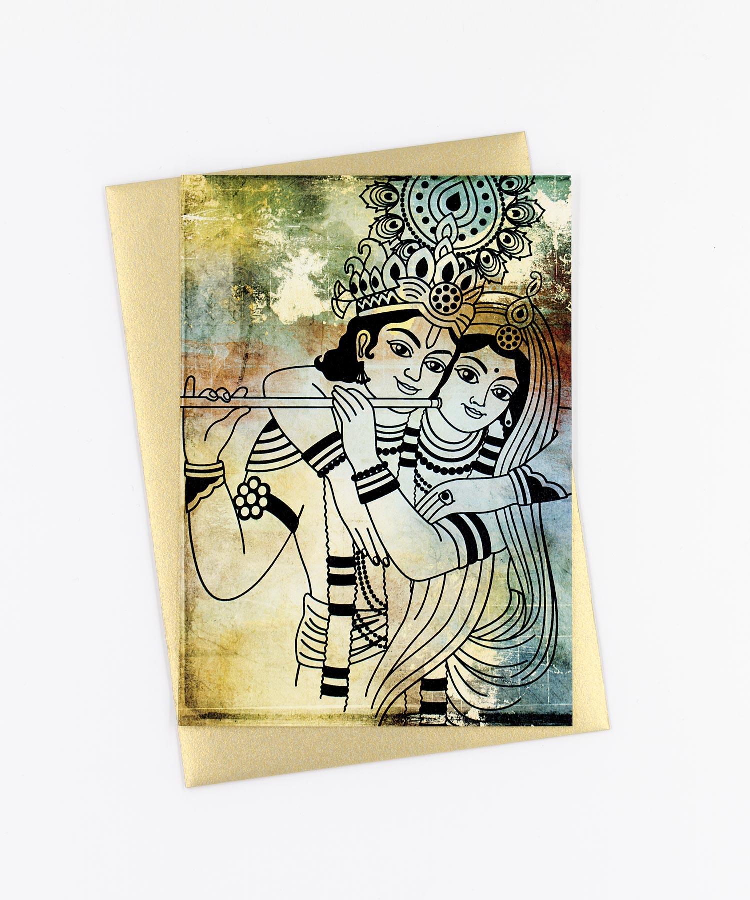 Yoga Postkarte Krsna und Radha