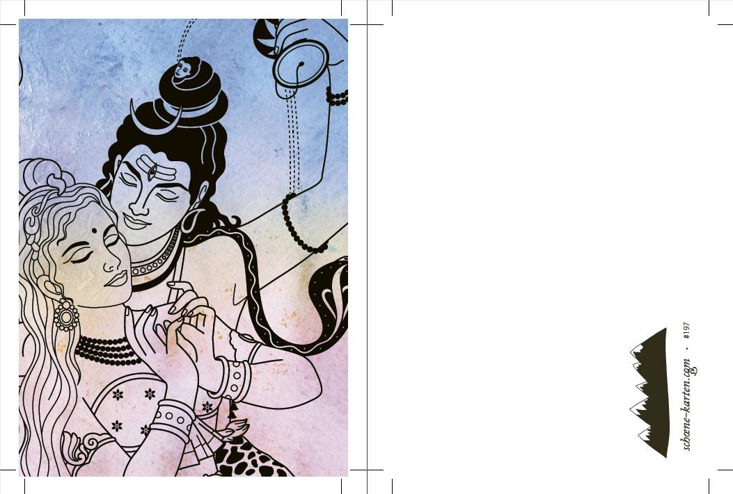 Yoga Postkarte Siva und Parvati