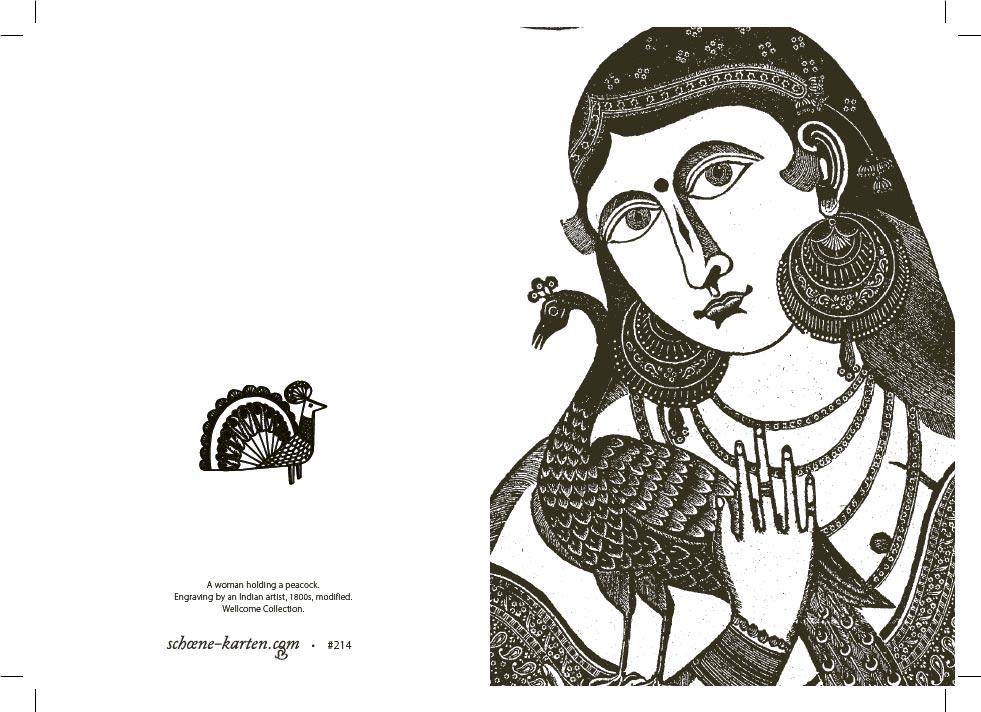 Grußkarte Portrait mit Pfau