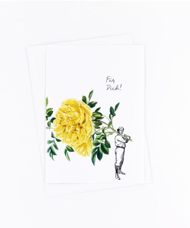 Postkarte Für Dich · Rose gelb