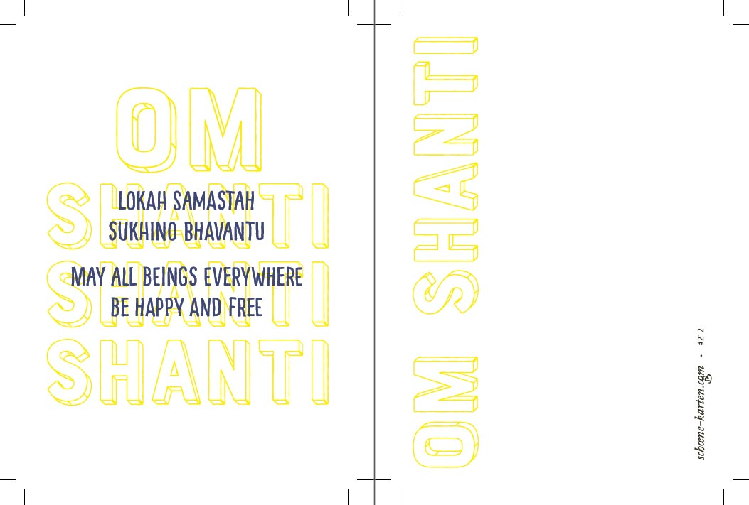Yoga Postkarte Lokah Samastah Typo