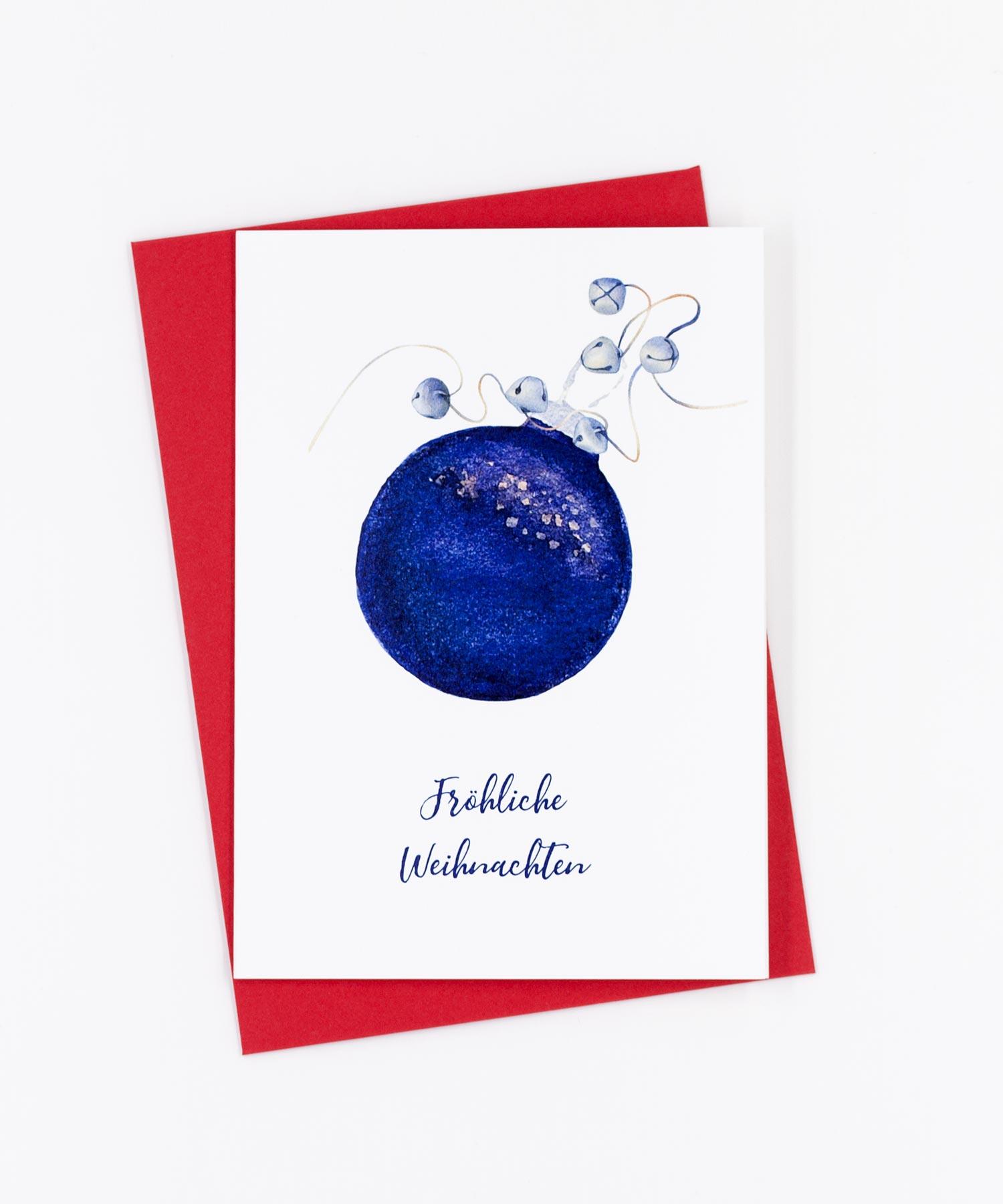 Weihnachtskarte Kugel und Glöckchen