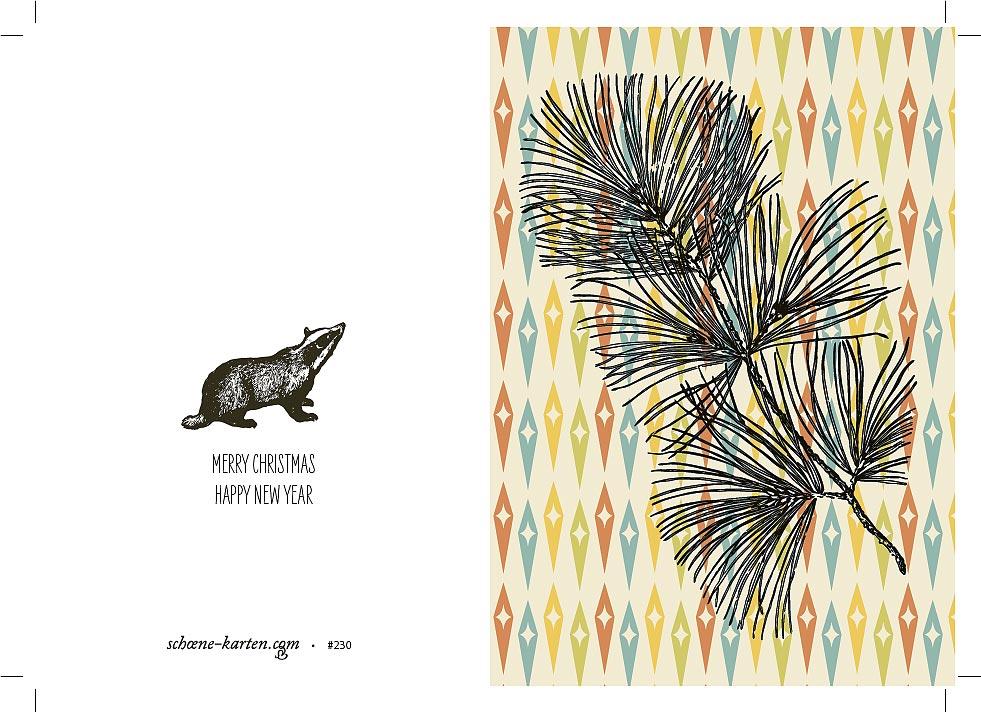 Weihnachtskarte Retro Pinie · Dachs