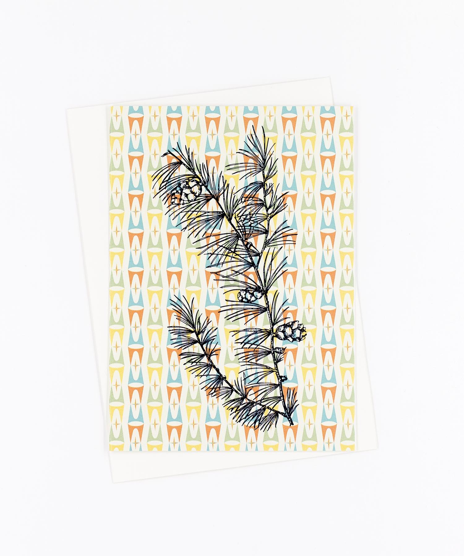 Weihnachtskarte Retro Pinie · Eichhörnchen