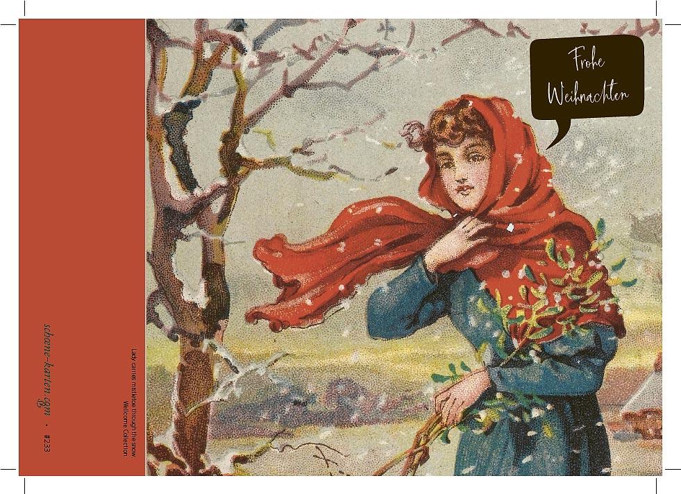 Weihnachtskarte Vintage Mistelzweig