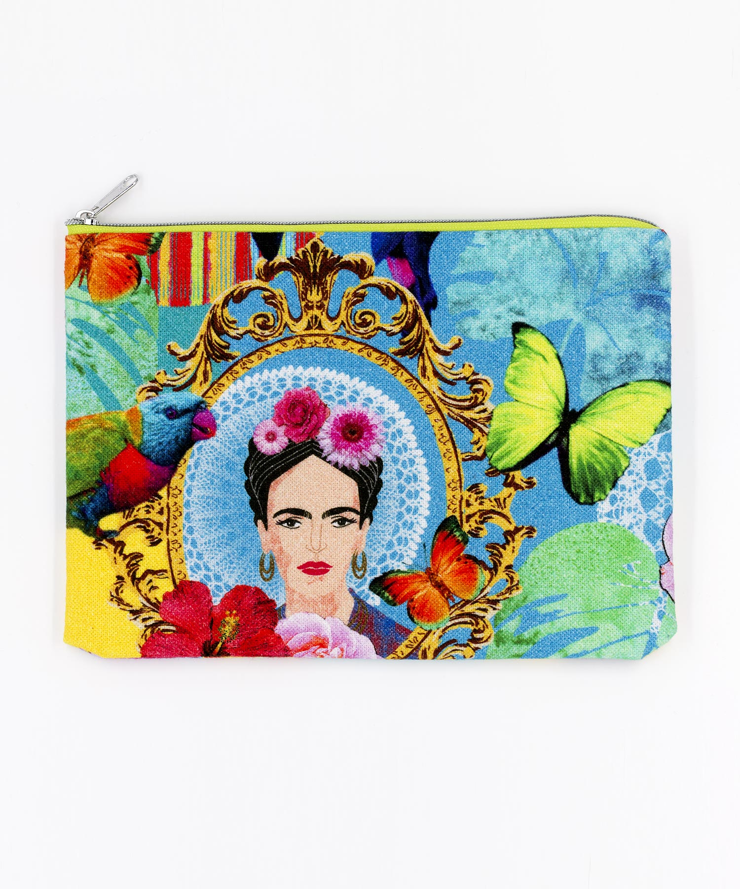Kosmetiktasche Frida Kahlo mit Blumen und Vögeln