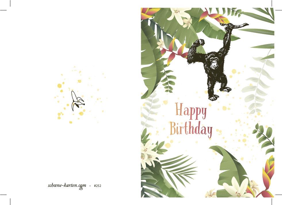 Geburtstagskarte Happy Birthday · Chimp