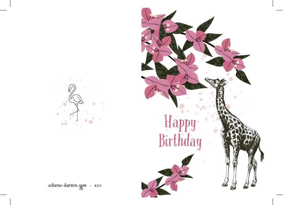Geburtstagskarte Happy Birthday · Giraffe