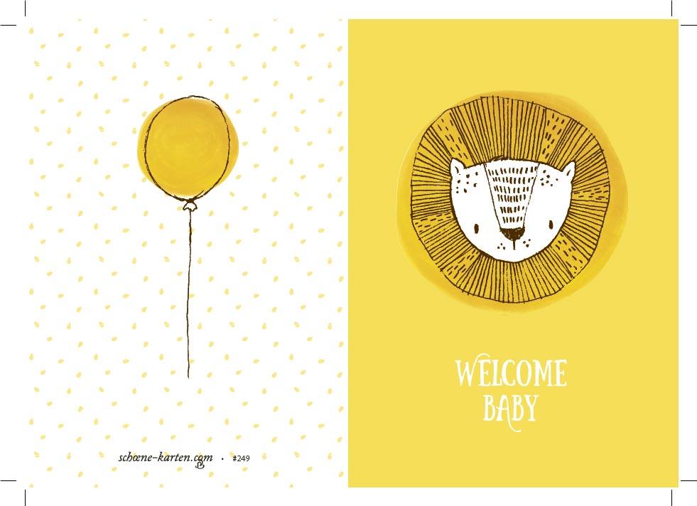 Geburtskarte Welcome Baby · Löwe