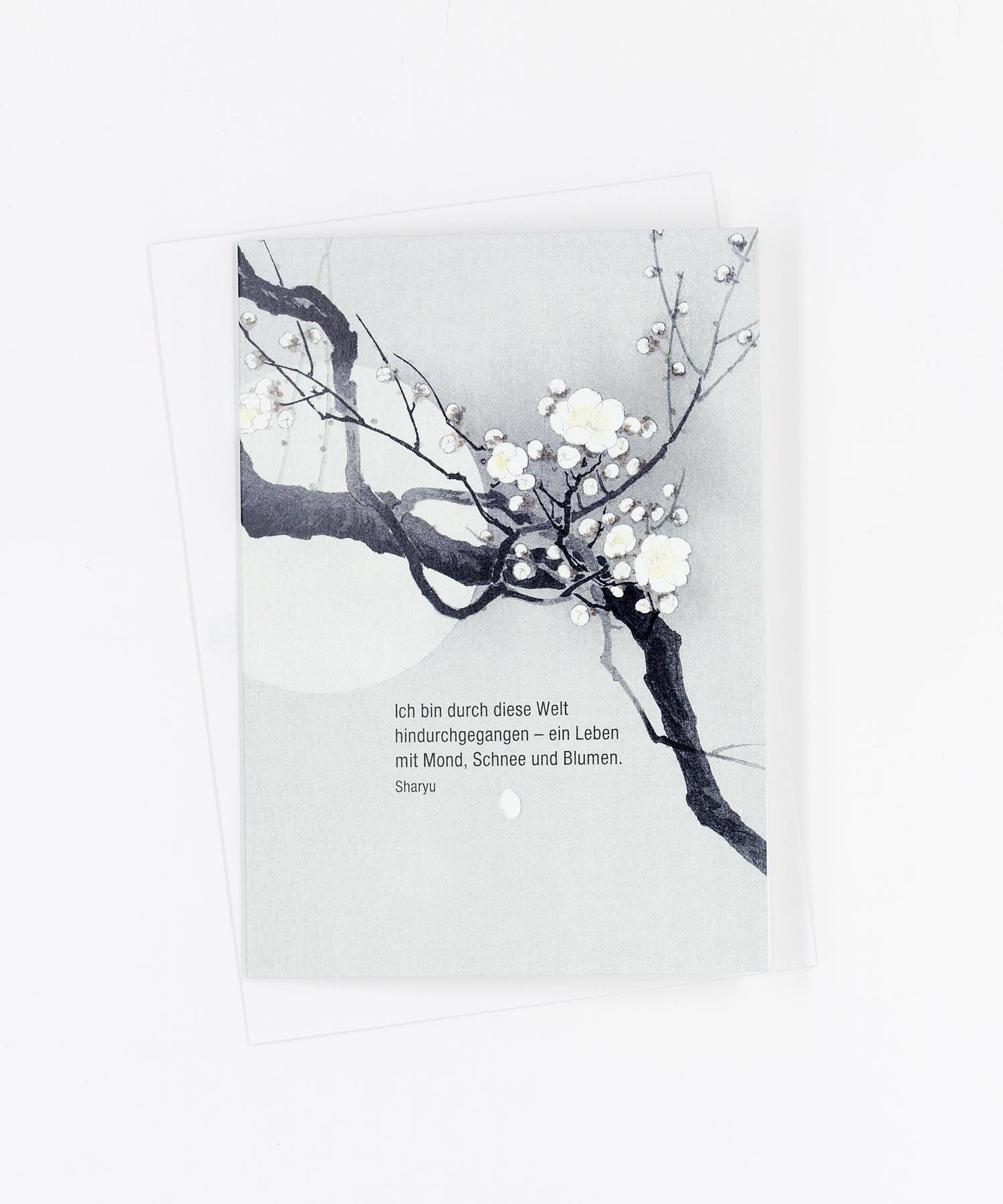 Kondolenzkarte Mond, Schnee und Blumen