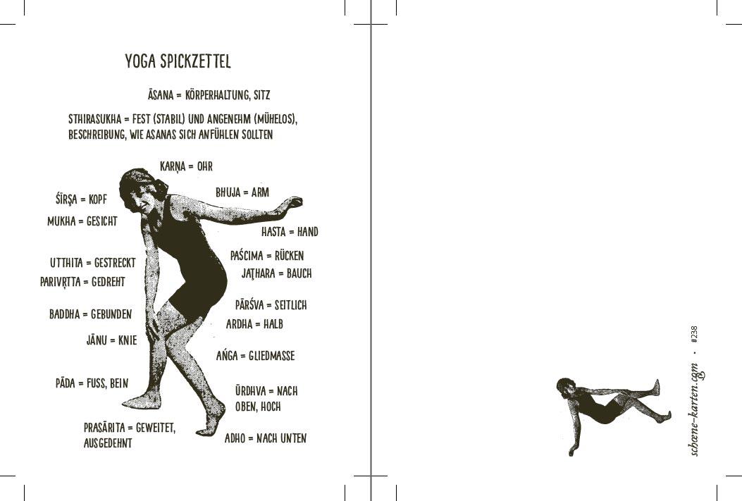 Postkarte Yoga Spickzettel