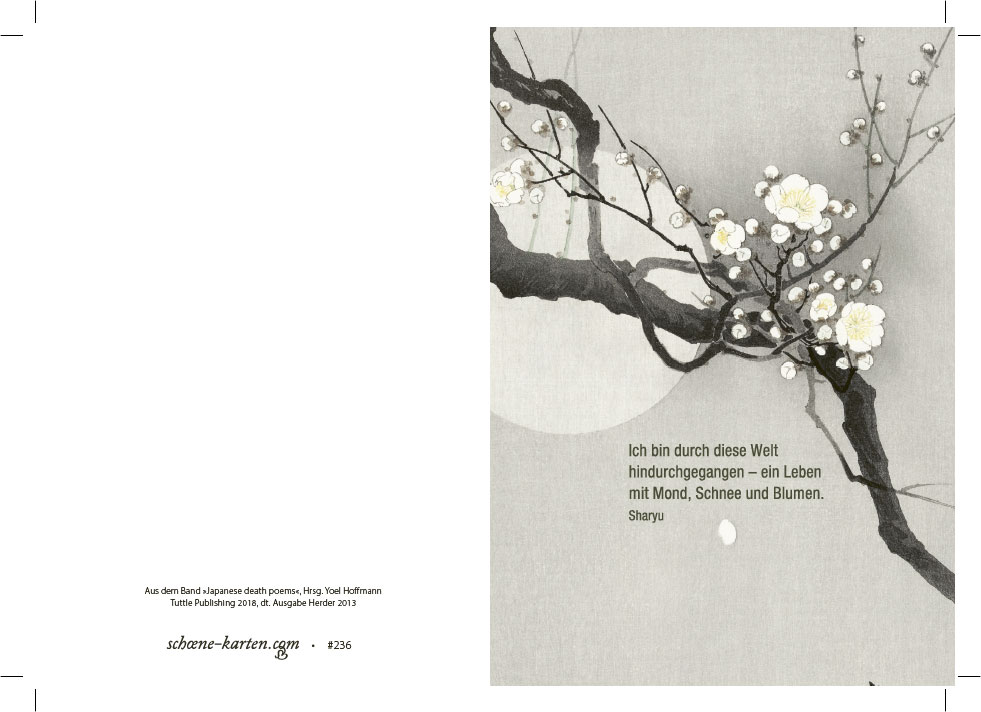Trauerkarte Mond, Schnee und Blumen
