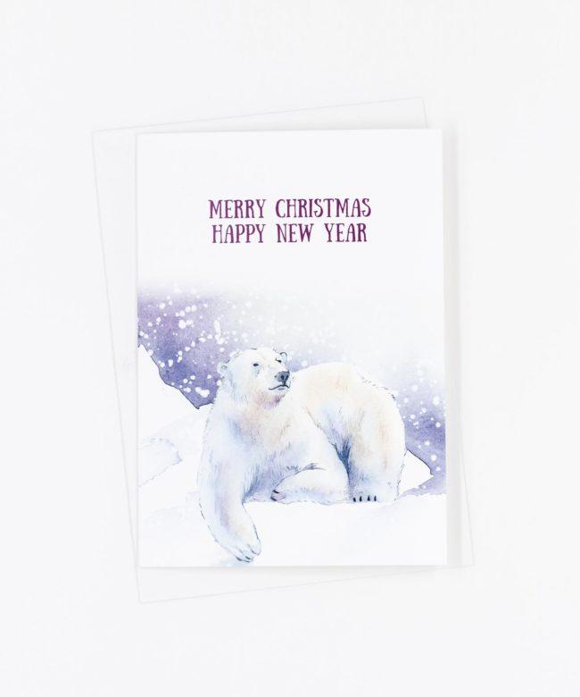 Weihnachtskarte Winter · Eisbär
