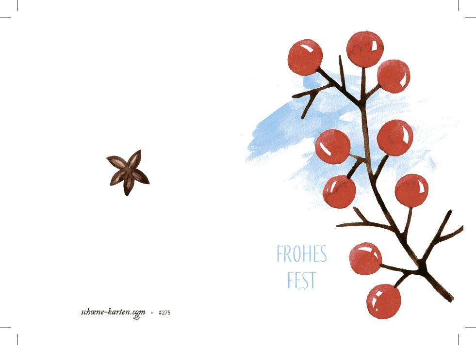 Weihnachtskarte Stechpalmenzweig