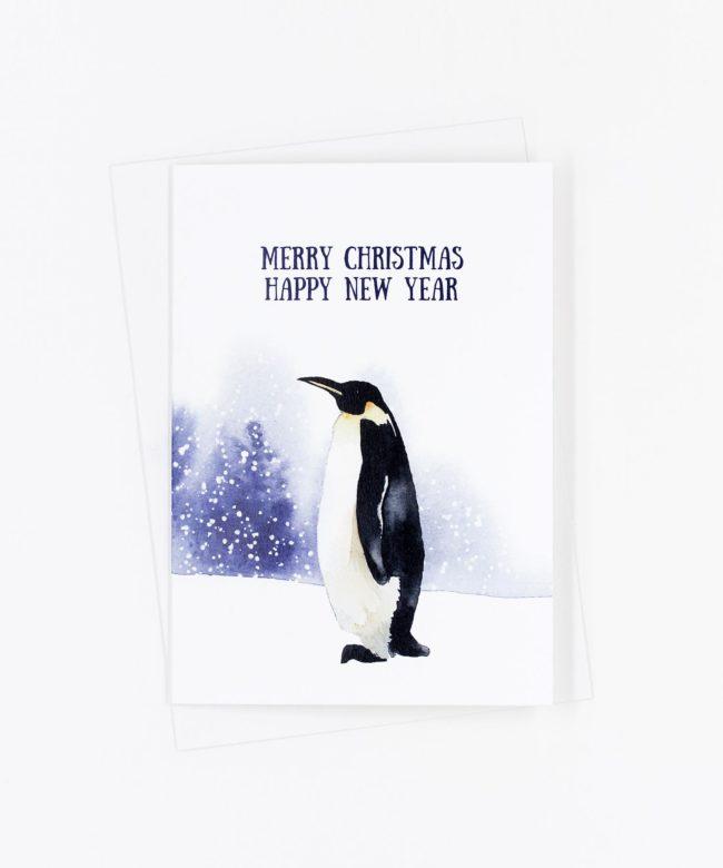 Weihnachtskarte Winter · Pinguin