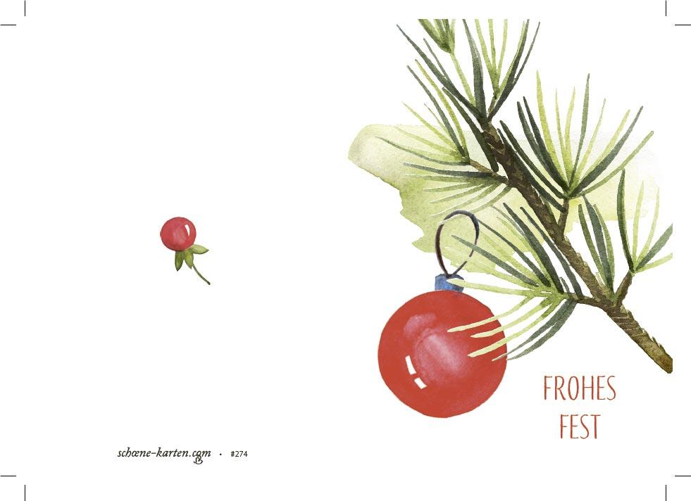 Weihnachtskarte Kiefernzweig