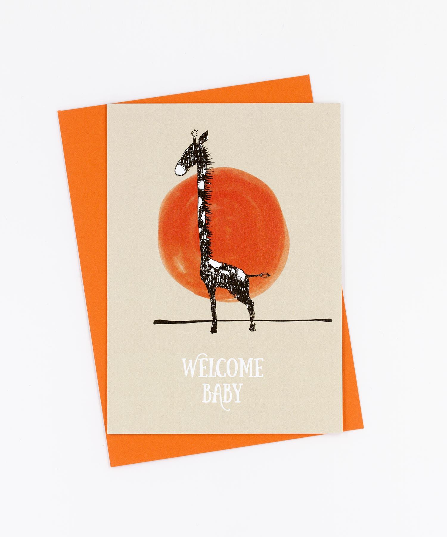 Geburtskarte Welcome Baby · Giraffe