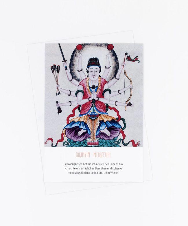 Yoga Postkarte Göttin Guanyin