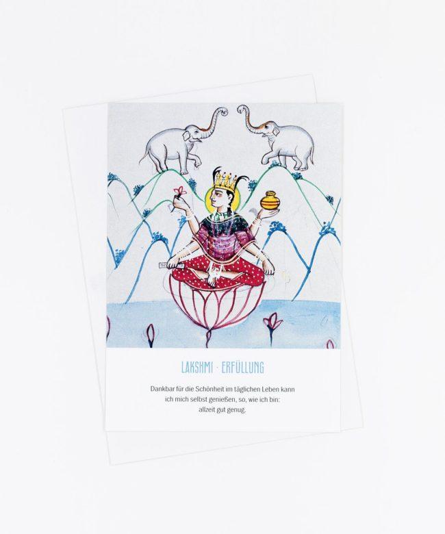 Yoga Postkarte Göttin Lakshmi