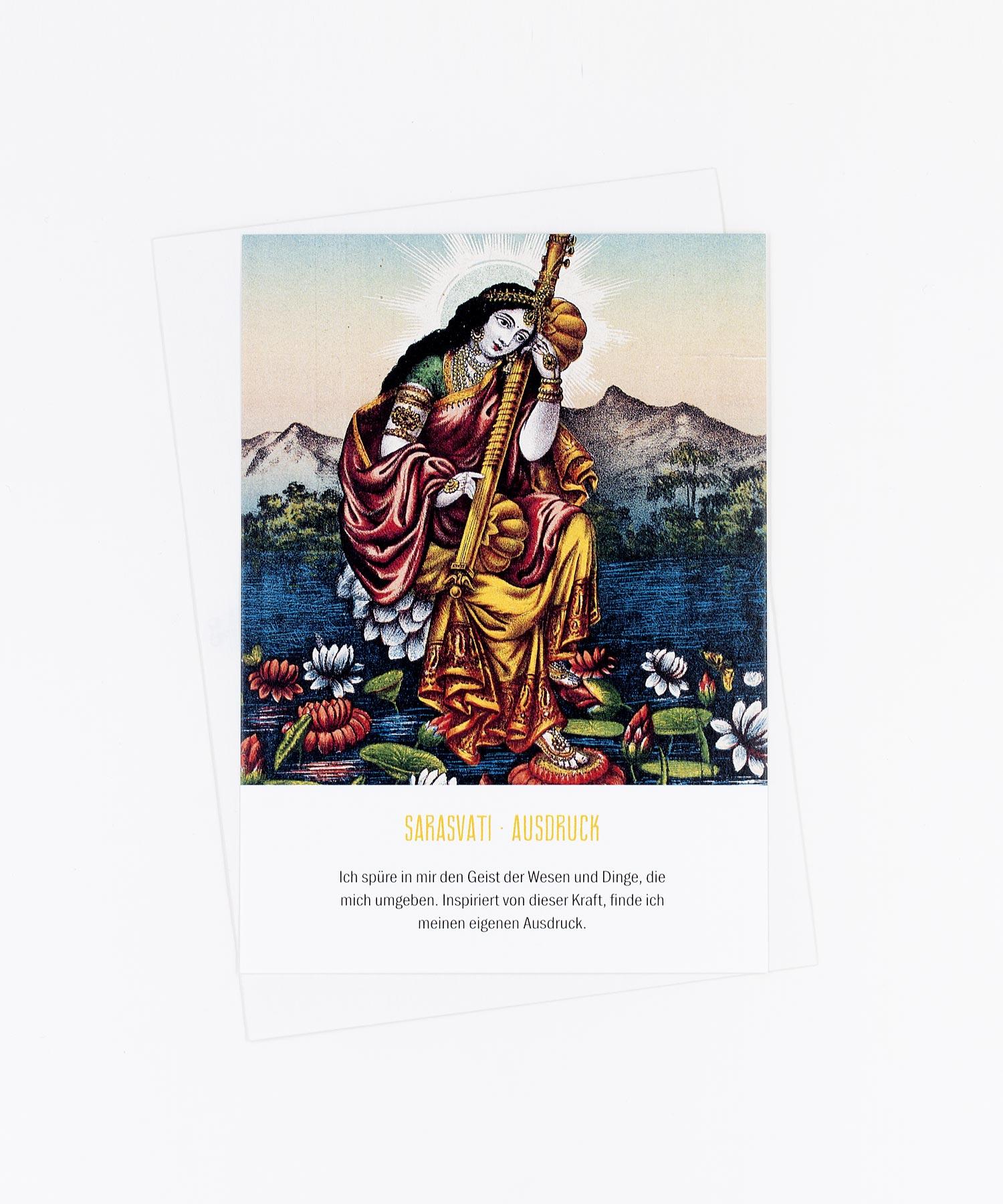 Yoga Postkarte Göttin Sarasvati